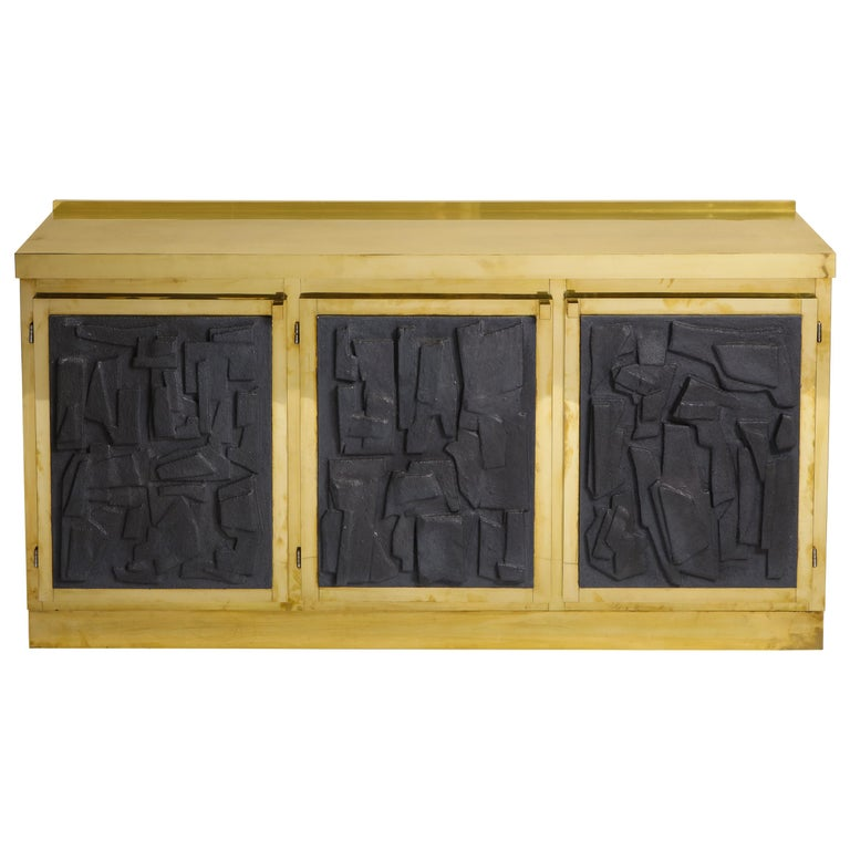 Brass and Black Bespoke Brutalist Style Sideboard or Credenza, Italy, 2019 For Sale