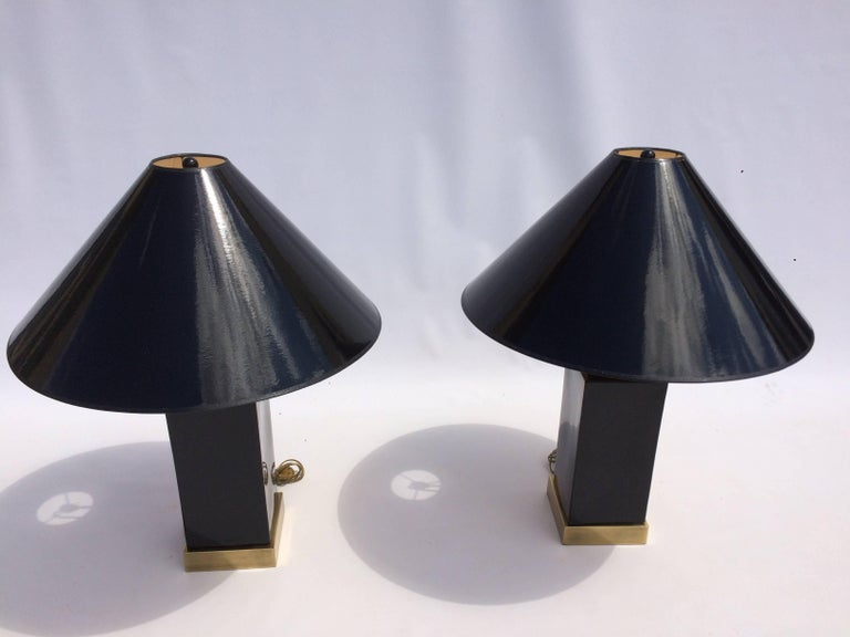 American Brass and Black Ceramic Table Lamps For Sale