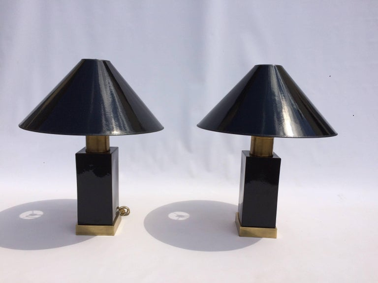 Late 20th Century Brass and Black Ceramic Table Lamps For Sale