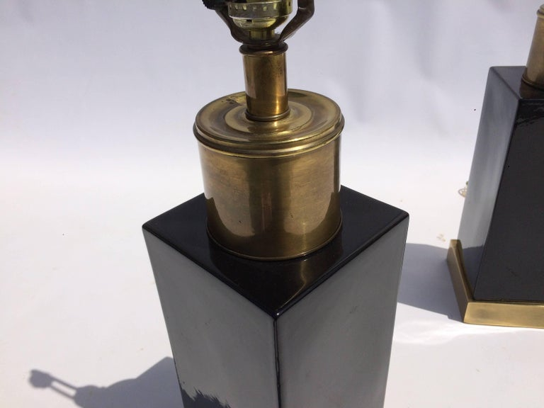 Brass and Black Ceramic Table Lamps For Sale 3