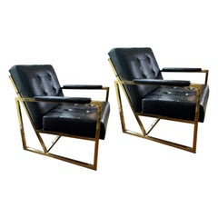 Brass and Black Chairs in the Style of Milo Baughman, a Pair