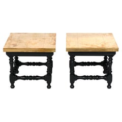 Brass and Black Finished Wood Tables