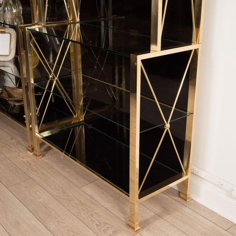 Italian Brass and Black Glass Étagère For Sale