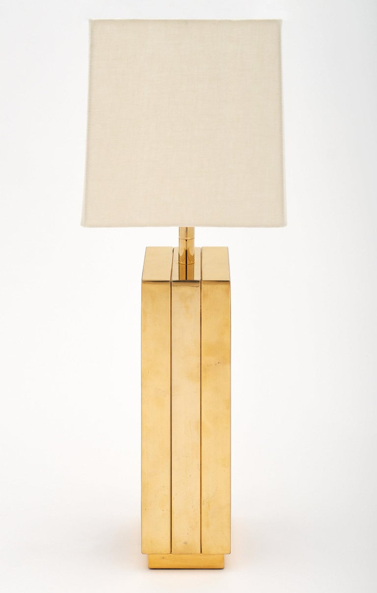 Mid-20th Century Brass and Black Glass Midcentury Lamp For Sale