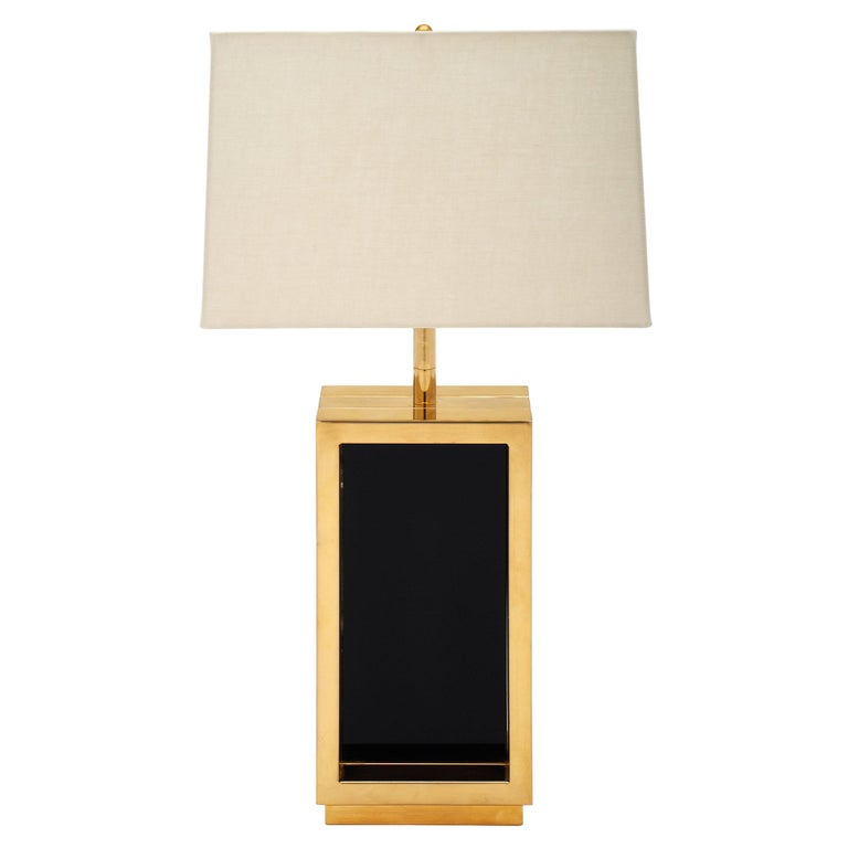 Brass and Black Glass Midcentury Lamp For Sale