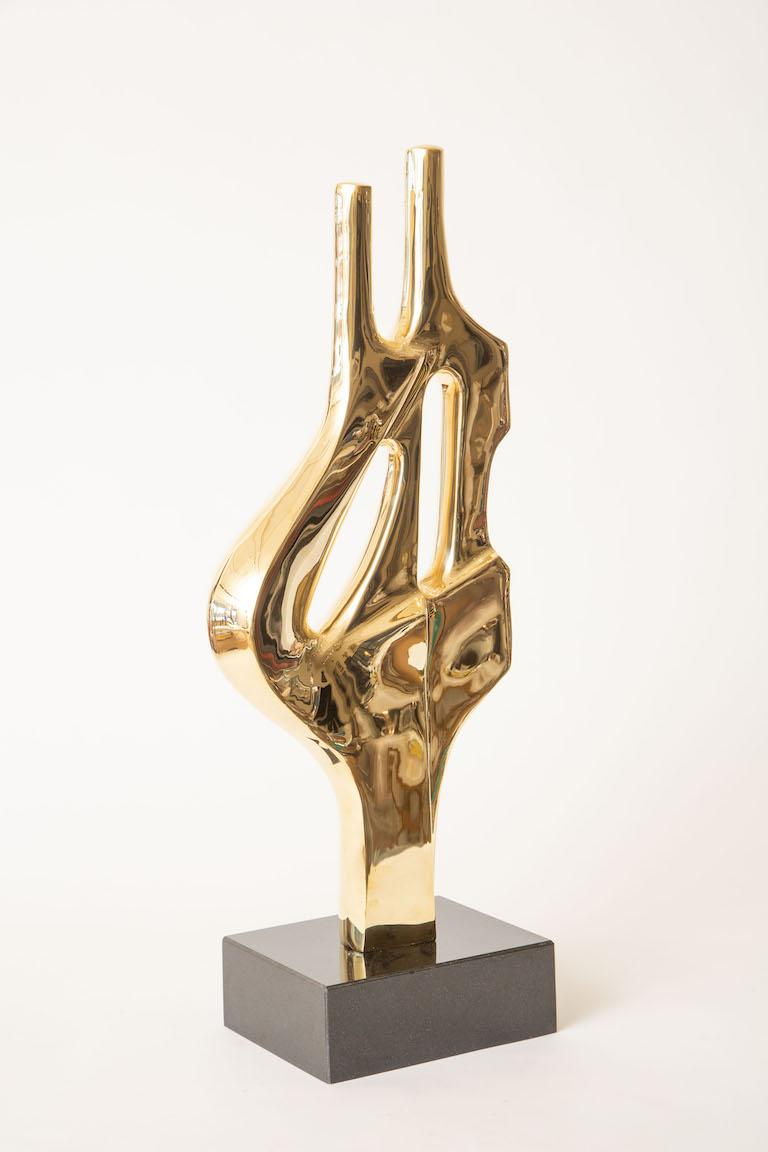 Modern Brass and Black Granite Abstract Sculpture Vintage For Sale