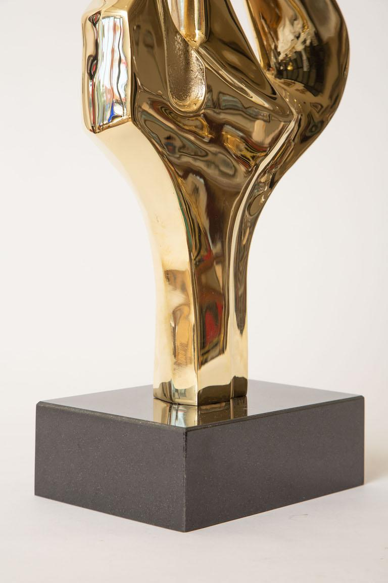 Brass and Black Granite Abstract Sculpture Vintage For Sale 1