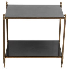 Brass and Black Granite Two-Tier Side Table