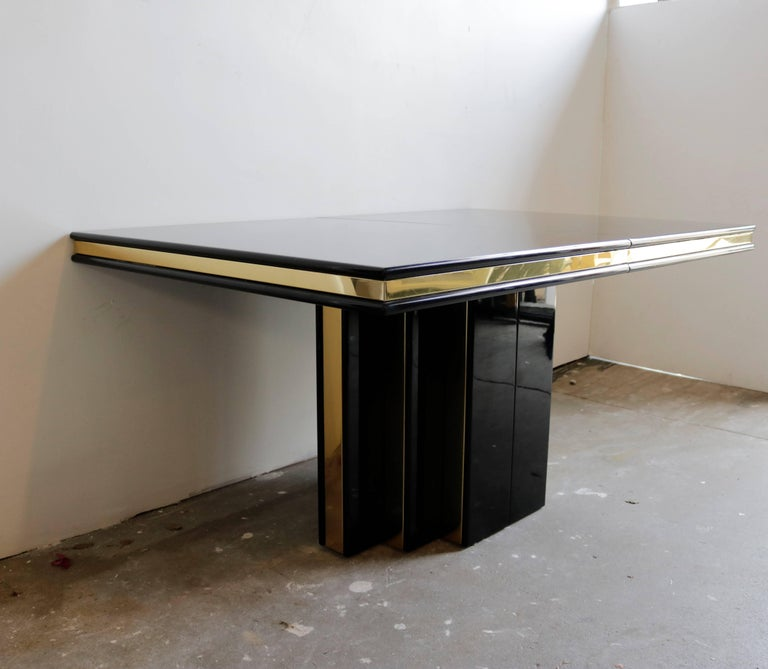 Mid-Century Modern Brass and Black Lacquer Dining Table by Roger Rougier For Sale