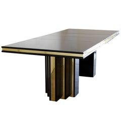 Brass and Black Lacquer Dining Table by Roger Rougier