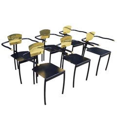 Brass and Black Memphis Chairs Set of Six