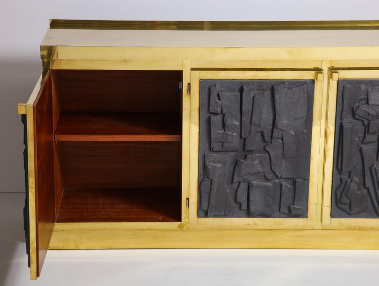 Brass Sideboard or Credenza with Black Brutalist Relief Panels, Italy For Sale 2