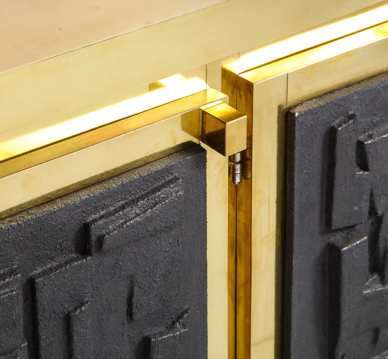 Brass Sideboard or Credenza with Black Brutalist Relief Panels, Italy For Sale 4