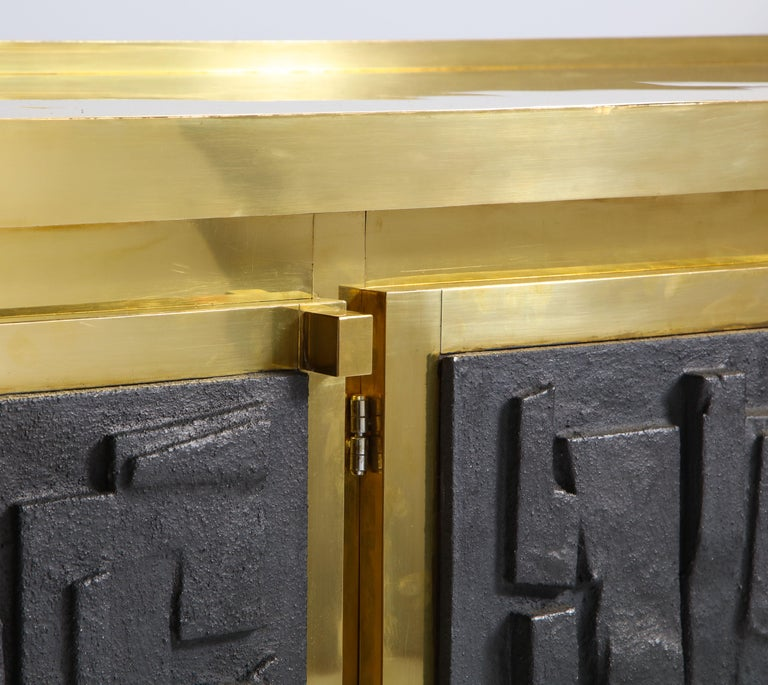 Brass Sideboard or Credenza with Black Brutalist Relief Panels, Italy For Sale 8