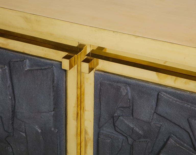 Hand-Carved Brass Sideboard or Credenza with Black Brutalist Relief Panels, Italy For Sale