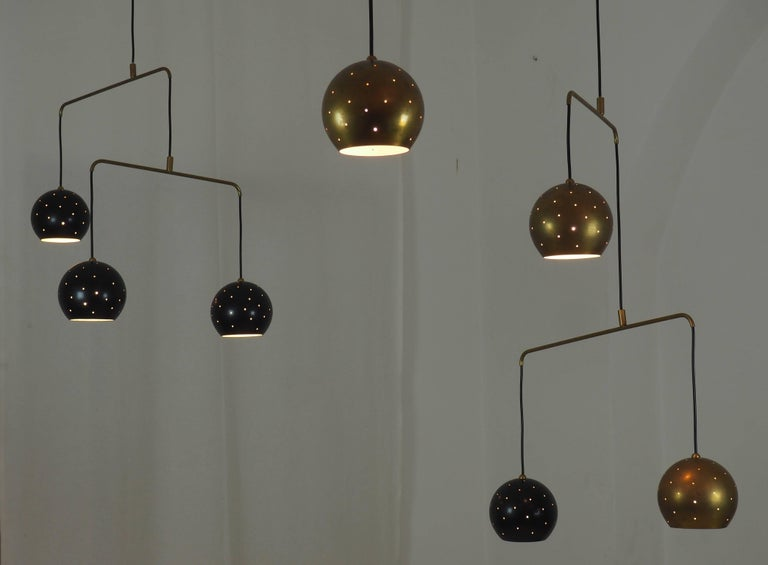 Brass and Black Spheres Large Chandelier Mobile