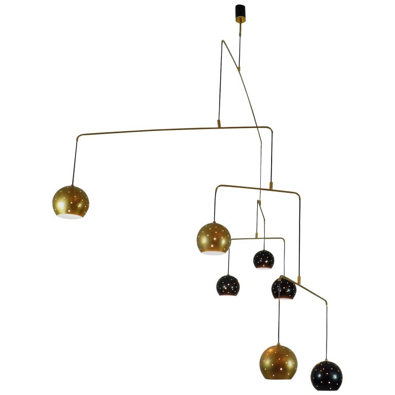 """Brass and Black Spheres Large Chandelier Mobile """"Magico E Meditativo"""", Italy For Sale"""