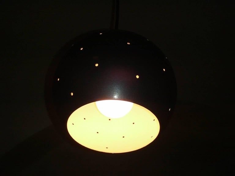 Metal Brass and Black Spheres Large Mobile Chandelier
