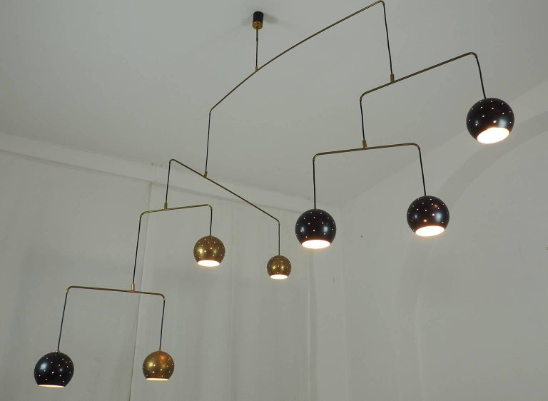 Brass and Black Spheres Large Mobile Chandelier