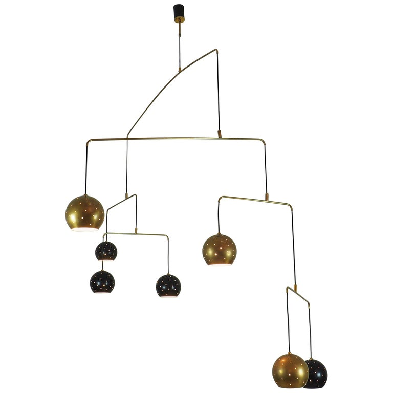 """Brass and Black Spheres Large Mobile Chandelier """"Magico E Meditativo"""", Italy"""