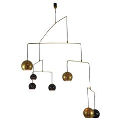 "Brass and Black Spheres Large Mobile Chandelier ""Magico E Meditativo"", Italy"