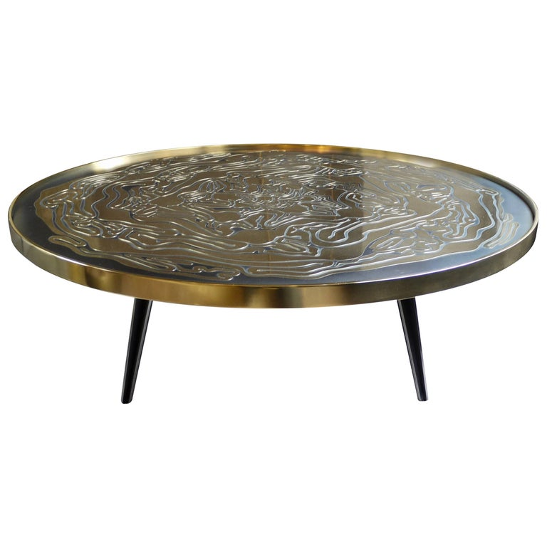 """Black Coffee Table Curved: Brass And Black Steel Round Coffee Table """"Choux"""" For Sale"""