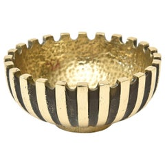 Brass and Blackened Brass Metal Bowl Mid-Century Modern