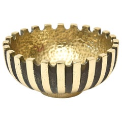 Brass and Blackened Brass Metal Bowl Mid-Century Modern