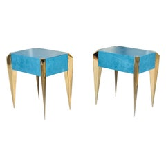 Blue Leather and Gold Plate Sculptural Modern Side End Tables, 1980s