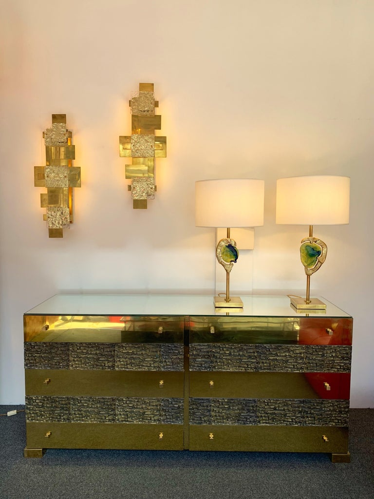 Brass and Bronze Sideboard Dresser by Luciano Frigerio. Italy, 1970s For Sale 4