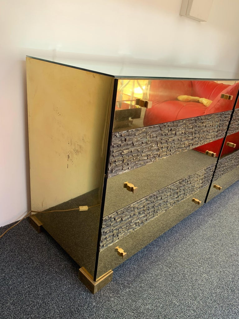 Late 20th Century Brass and Bronze Sideboard Dresser by Luciano Frigerio. Italy, 1970s For Sale