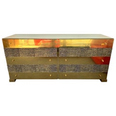 Brass and Bronze Sideboard Dresser by Luciano Frigerio. Italy, 1970s