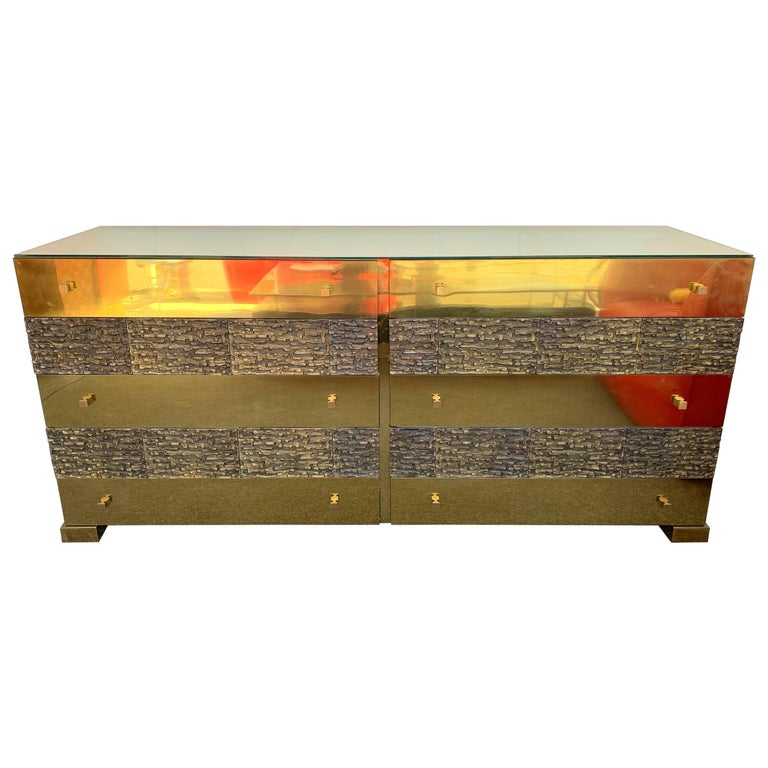 Brass and Bronze Sideboard Dresser by Luciano Frigerio. Italy, 1970s For Sale