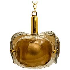 Brass and Brown Glass Blown Murano Glass Pendant Light
