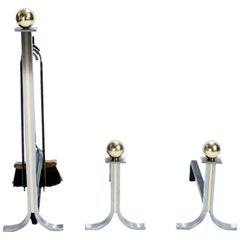 Brass and Brushed Steel Andirons and Tools Stand, 1970s