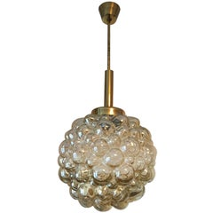 Brass and Bubble Glass Helena Tynell Pendant Chandelier from 1960s