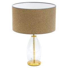 Brass and Bubble Glass Table Lamp, 1970s