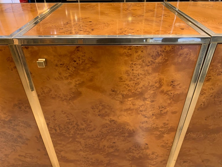 Brass and Burl Wood Italian Sectional Credenza, 1970 For Sale 5