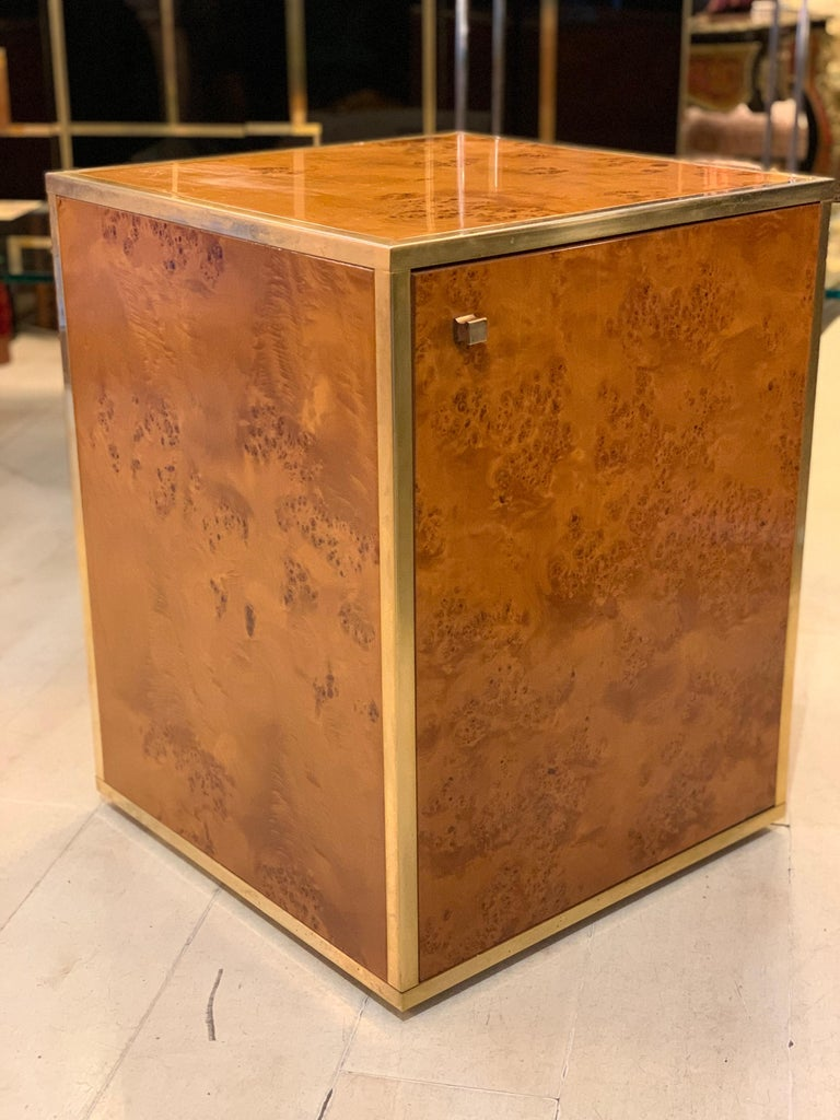 Brass and Burl Wood Italian Sectional Credenza, 1970 For Sale 7