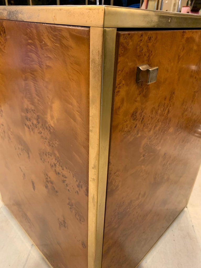 Brass and Burl Wood Italian Sectional Credenza, 1970 For Sale 8