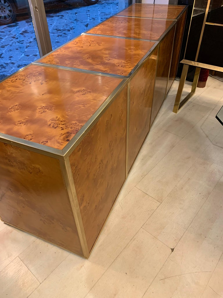 Brass and Burl Wood Italian Sectional Credenza, 1970 For Sale 15