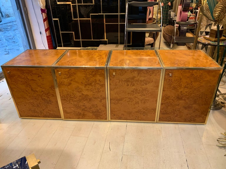 Mid-Century Modern Brass and Burl Wood Italian Sectional Credenza, 1970 For Sale