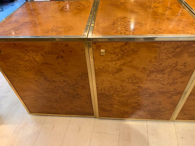 20th Century Brass and Burl Wood Italian Sectional Credenza, 1970 For Sale