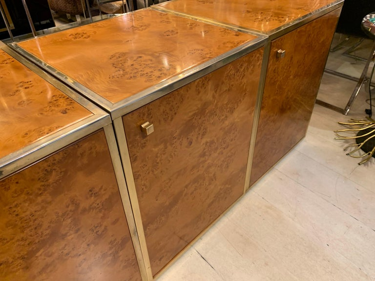 Brass and Burl Wood Italian Sectional Credenza, 1970 For Sale 1