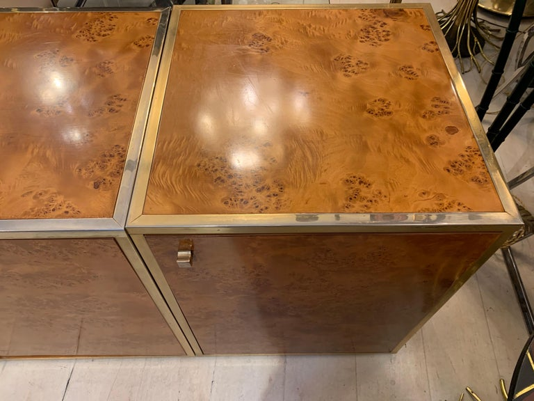 Brass and Burl Wood Italian Sectional Credenza, 1970 For Sale 2