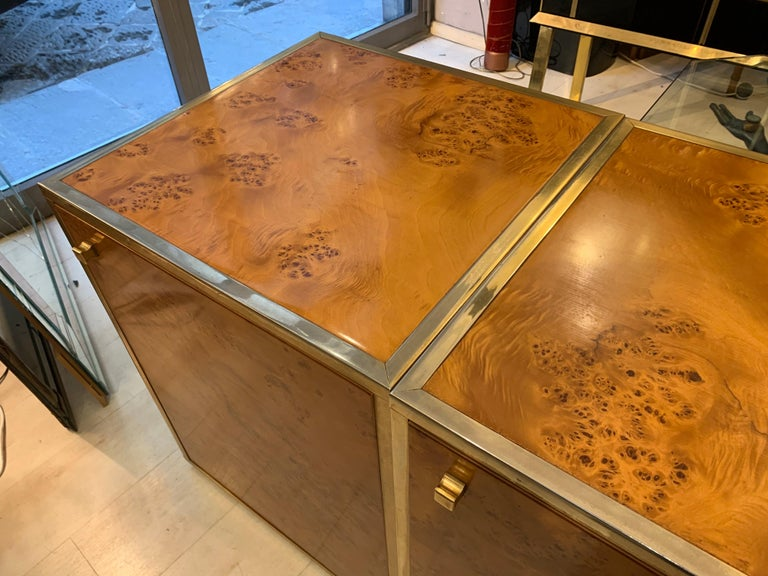 Brass and Burl Wood Italian Sectional Credenza, 1970 For Sale 3