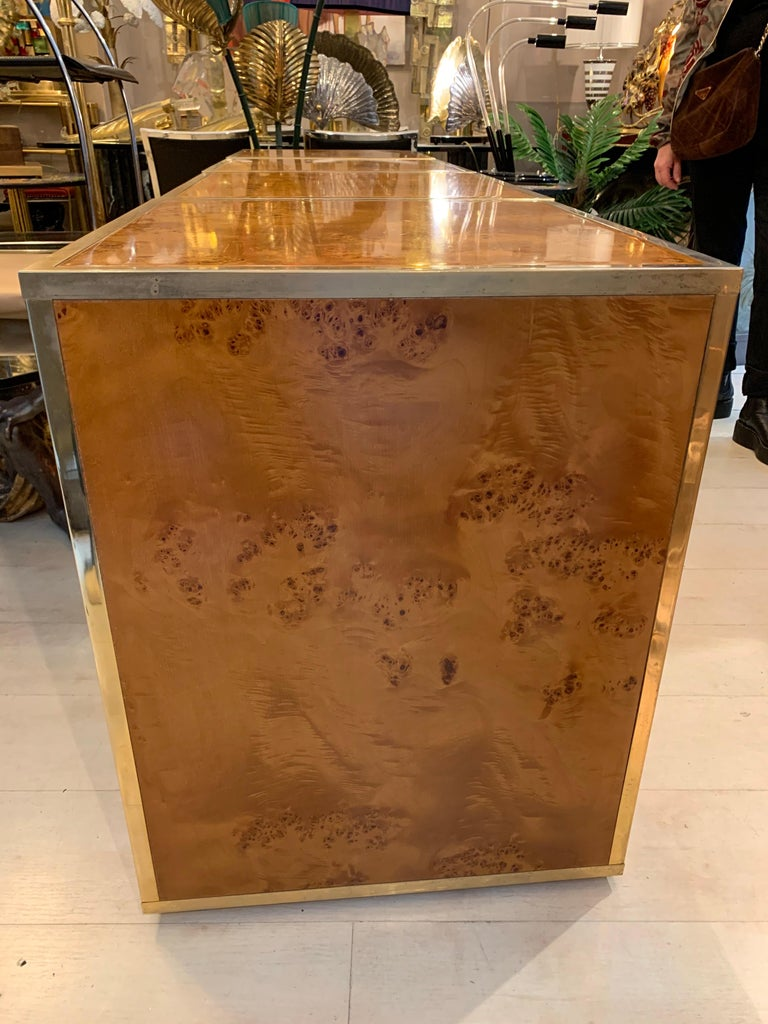 Brass and Burl Wood Italian Sectional Credenza, 1970 For Sale 4