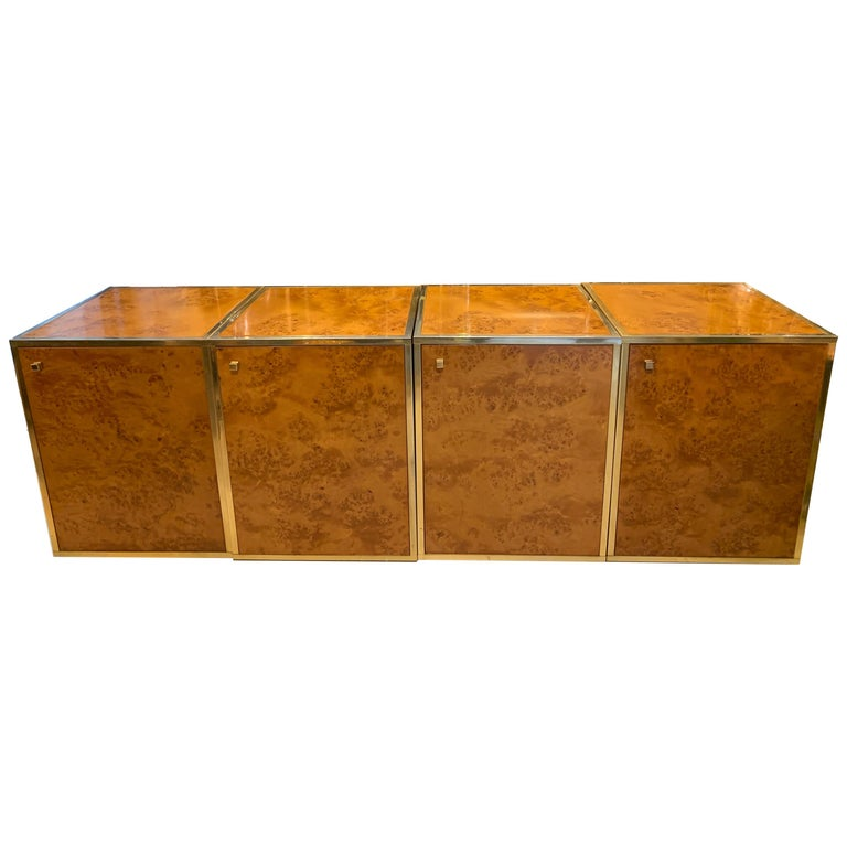 Brass and Burl Wood Italian Sectional Credenza, 1970 For Sale