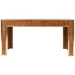Brass and Burr Walnut Console Table, France, 1970s
