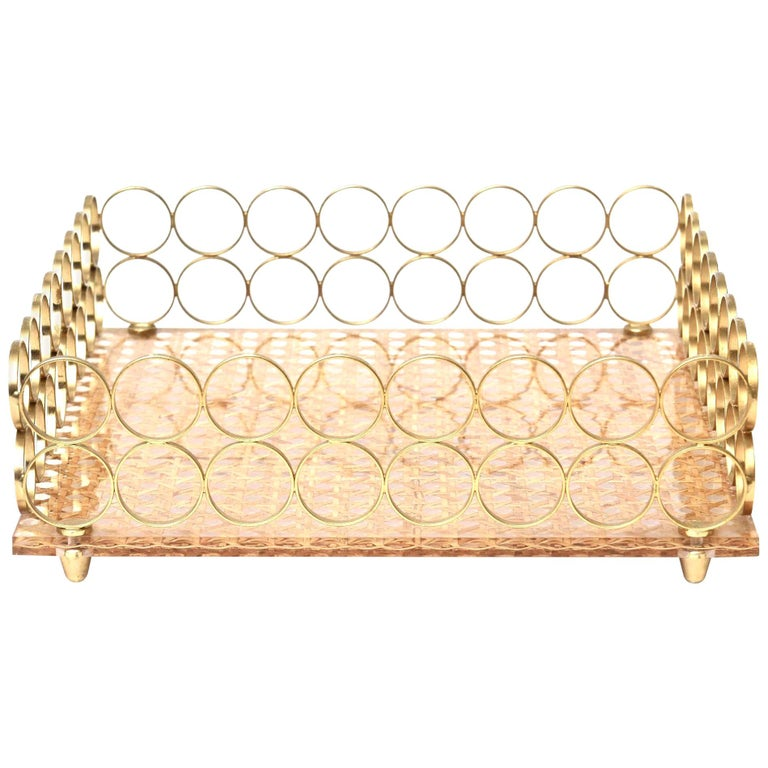 Brass and Caned Square Tray Barware Vintage, Italian For Sale
